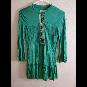 Free People Green Floral Boho Ruffle Hem Blouse